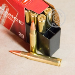 Image of 30.06 Springfield ammo by Hornady that's ideal for whitetail hunting.