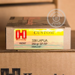 Image of Hornady 338 Lapua Magnum rifle ammunition.