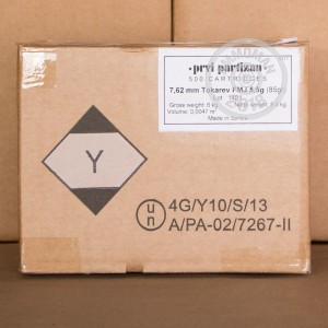 A photo of a box of Prvi Partizan ammo in 7.62 x 25.