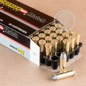 A photograph of 50 rounds of 240 grain 44 Remington Magnum ammo with a Lead Semi-Wadcutter (LSWC) bullet for sale.