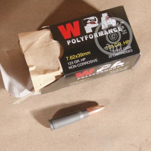 A photograph of 1000 rounds of 123 grain 7.62 x 39 ammo with a HP bullet for sale.