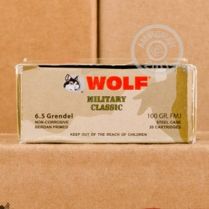 Image of Wolf 6.5 Grendel rifle ammunition.