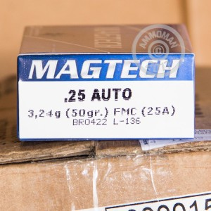 A photograph detailing the .25 ACP ammo with FMJ bullets made by Magtech.