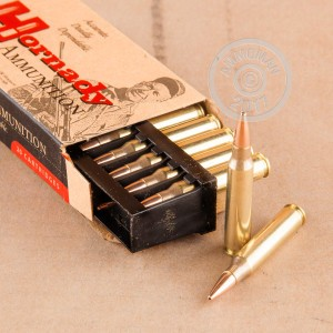 Image of 223 Remington ammo by Hornady that's ideal for hunting varmint sized game, precision shooting, training at the range.