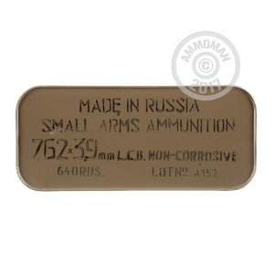 An image of bulk 7.62 x 39 ammo made by Tula Cartridge Works at AmmoMan.com.