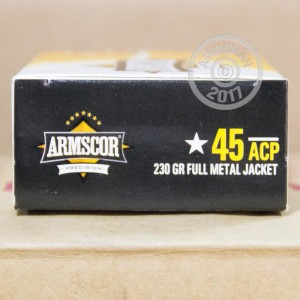 Image of .45 Automatic ammo by Armscor that's ideal for training at the range.