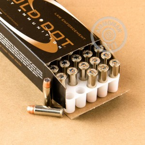 Image detailing the nickel-plated brass case and boxer primers on the Speer ammunition.