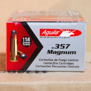 A photograph of 50 rounds of 158 grain 357 Magnum ammo with a Semi-Jacketed Soft-Point (SJSP) bullet for sale.