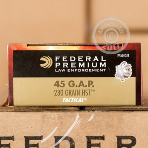 Image of .45 GAP ammo by Federal that's ideal for home protection.