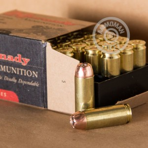 Image of Hornady 50 Action Express pistol ammunition.