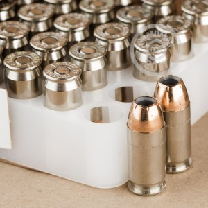 A photograph of 50 rounds of 185 grain .45 Automatic ammo with a JHP bullet for sale.