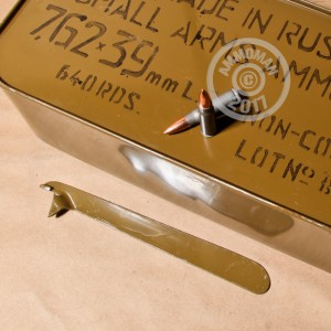 A photograph detailing the bulk 7.62 x 39 ammo with FMJ bullets made by Tula Cartridge Works.