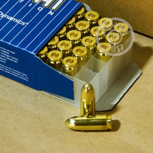 A photograph detailing the 9mm Luger ammo with FMJ bullets made by Fiocchi.