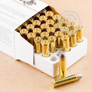 A photograph detailing the 357 Magnum ammo with JHP bullets made by Winchester.