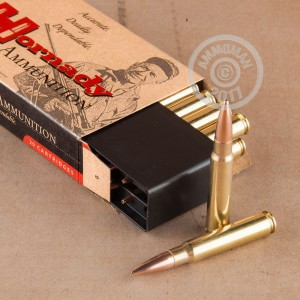 A photograph detailing the 8x57 JS ammo with Hollow-Point Boat Tail (HP-BT) bullets made by Hornady.