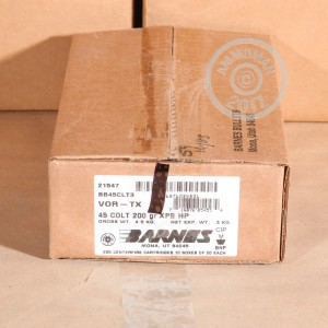 A photo of a box of Barnes ammo in .45 COLT.