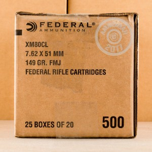 A photograph detailing the 308 / 7.62x51 ammo with FMJ bullets made by Federal.