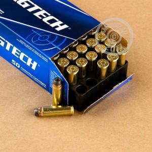A photograph detailing the 38 Special ammo with semi-jacketed hollow-Point (SJHP) bullets made by Magtech.