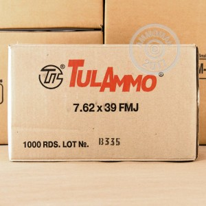 A photograph of 1000 rounds of 122 grain 7.62 x 39 ammo with a FMJ bullet for sale.