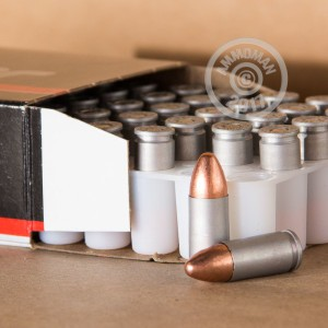 A photograph detailing the 9mm Luger ammo with TMJ bullets made by CCI.