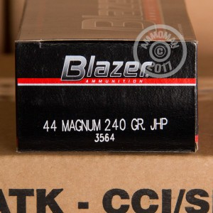 Image of Blazer 44 Remington Magnum pistol ammunition.