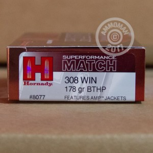 A photograph detailing the 308 / 7.62x51 ammo with Hollow-Point Boat Tail (HP-BT) bullets made by Hornady.