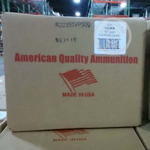 A photo of a box of American Quality Ammunition ammo in 223 Remington.