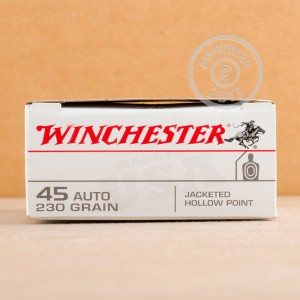Image of .45 Automatic ammo by Winchester that's ideal for home protection, training at the range.