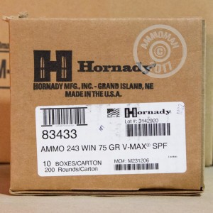 A photo of a box of Hornady ammo in 243 Winchester.