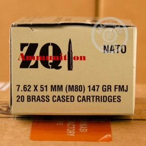 A photograph of 20 rounds of 147 grain 308 / 7.62x51 ammo with a FMJ bullet for sale.
