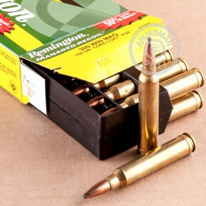 A photograph of 20 rounds of 150 grain 300 Winchester Magnum ammo with a Pointed Soft-Point (PSP) bullet for sale.
