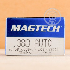 Photo of .380 Auto Lead Round Nose (LRN) ammo by Magtech for sale at AmmoMan.com.