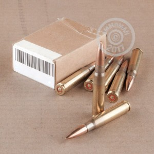 A photograph of 300 rounds of 196 grain 8mm Mauser ammo with a FMJ bullet for sale.