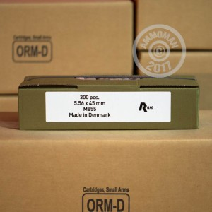 A photo of a box of Rio Ammunition ammo in 5.56x45mm that's often used for training at the range.