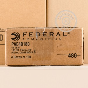 Image of Federal .40 Smith & Wesson bulk pistol ammunition.
