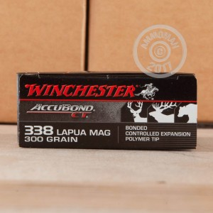 A photograph detailing the 338 Lapua Magnum ammo with Polymer Tipped bullets made by Winchester.