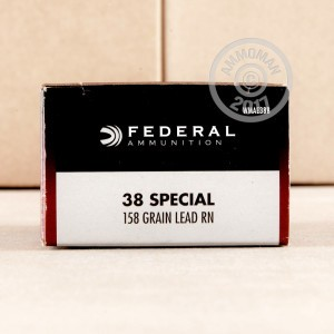 A photograph detailing the 38 Special ammo with Lead Round Nose (LRN) bullets made by Federal.