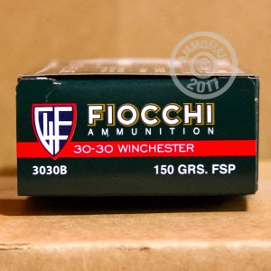 Image of 30-30 Winchester ammo by Fiocchi that's ideal for big game hunting, hunting wild pigs, whitetail hunting.