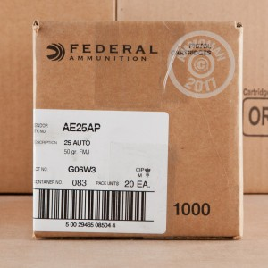 A photo of a box of Federal ammo in .25 ACP.
