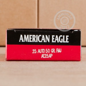 A photograph of 1000 rounds of 50 grain .25 ACP ammo with a FMJ bullet for sale.