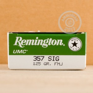An image of 357 SIG ammo made by Remington at AmmoMan.com.