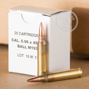 A photo of a box of Bosnian Surplus ammo in 5.56x45mm.