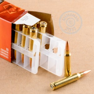 Image of 223 Remington ammo by Federal that's ideal for hunting varmint sized game, precision shooting.