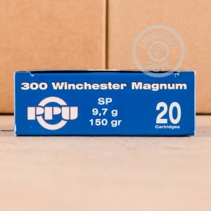 A photograph of 20 rounds of 150 grain 300 Winchester Magnum ammo with a soft point bullet for sale.