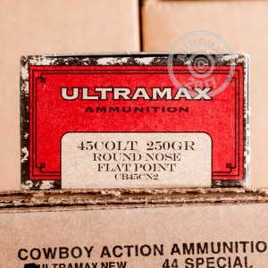 A photograph of 50 rounds of 250 grain .45 COLT ammo with a Round Nose bullet for sale.