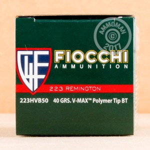 A photograph detailing the 223 Remington ammo with V-MAX bullets made by Fiocchi.