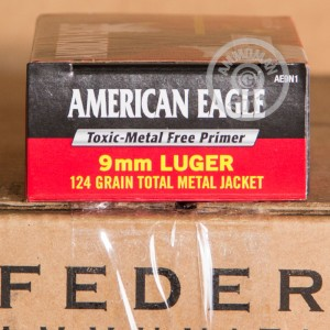 A photograph detailing the 9mm Luger ammo with TMJ bullets made by Federal.