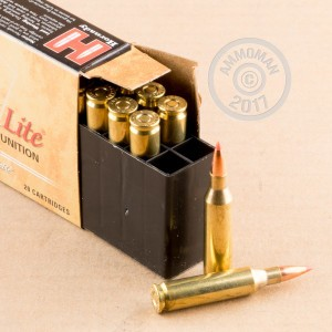 A photograph of 20 rounds of 87 grain 243 Winchester ammo with a SST bullet for sale.