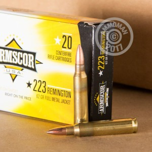 Photo of 223 Remington FMJ-BT ammo by Armscor for sale.