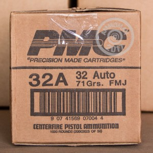 A photo of a box of PMC ammo in .32 ACP.